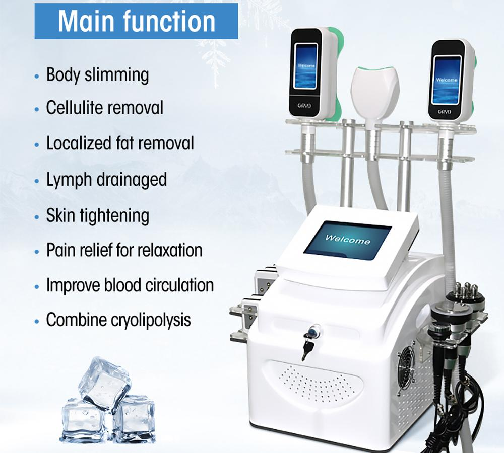 Cryolipolysis Free Freeze Máquina láser Lipo Cuerpo Escultador Máquina adelgazante Máquina de cavitación ultrasónica Cryo Slim VCCUM RF Liposucción