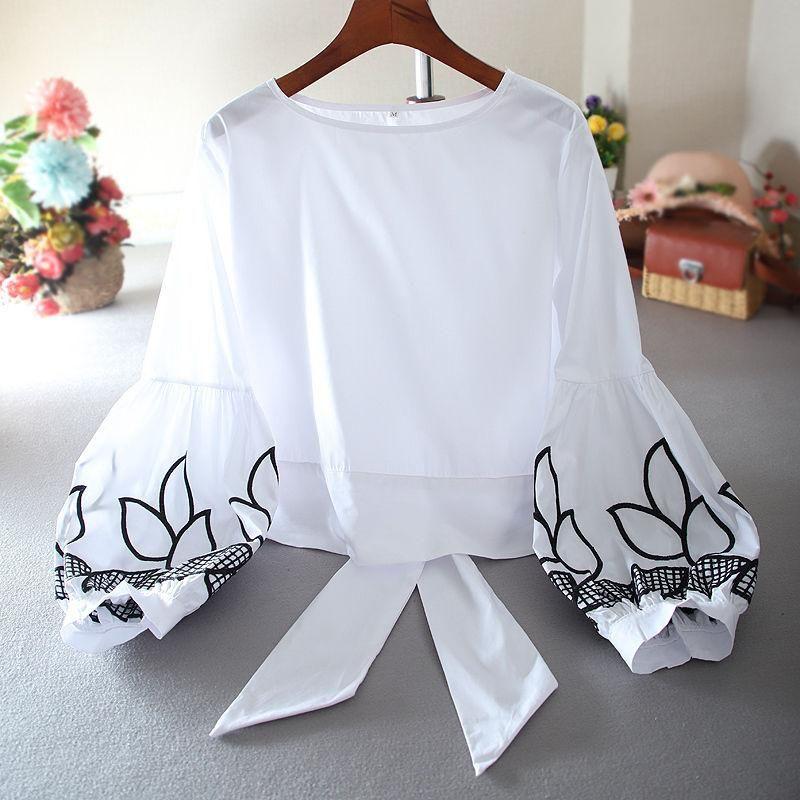 Camicette in cotone in cotone stile primavera da donna Camicie da donna a maniche lunghe con scollo a maniche lunghe con scollo a maniche lunghe da donna Top coreane SP505