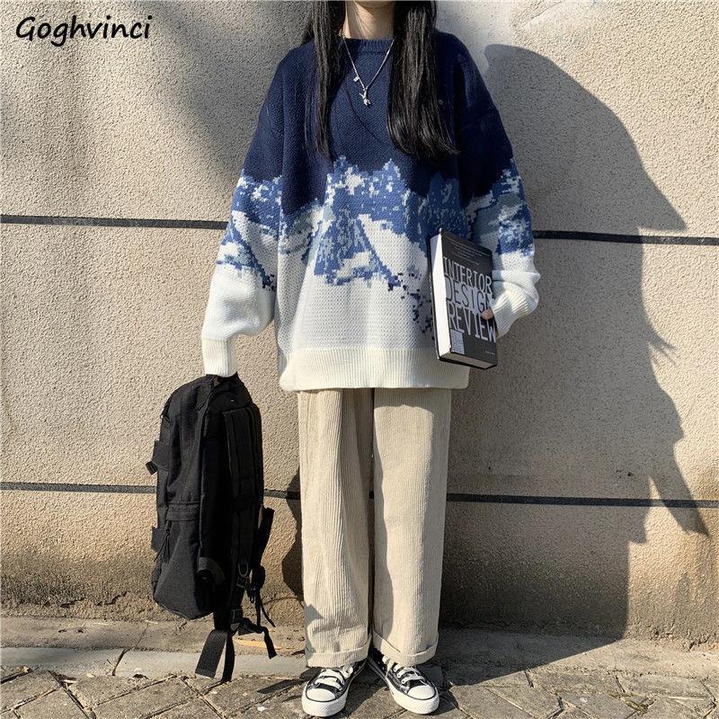 Frauen pullover blau patchwork winter verdickung pullover lose lässig Allgleiches koreanische stil weiche hochwertige faul student chic
