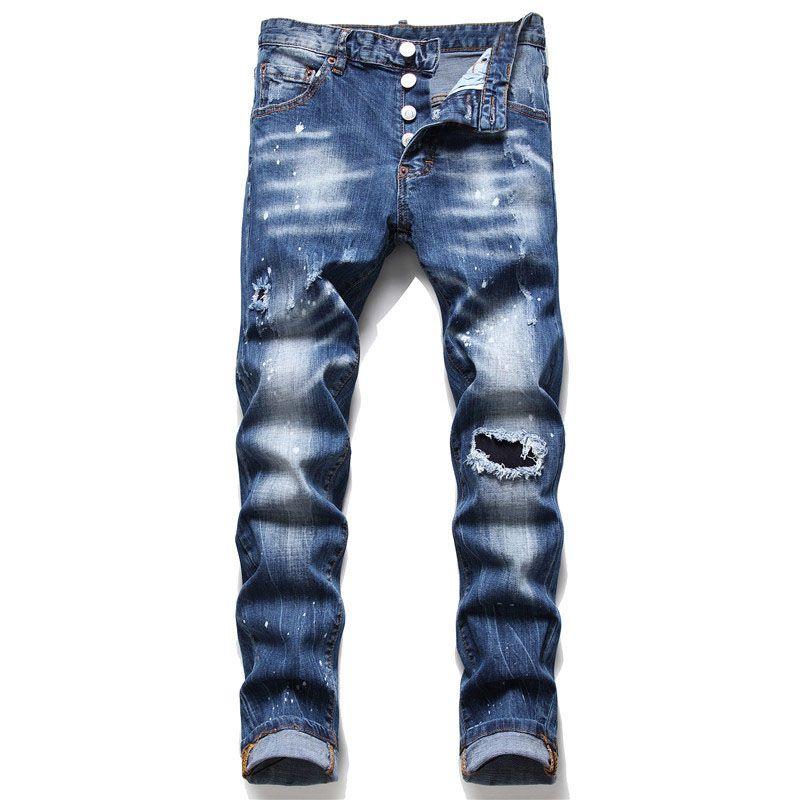 Erkekler Slim Fit Kot Pantolon Moda Sıska Düz Bacak Yıkanmış Yıpranmış Motosiklet Denim Pantolon Hip Hop Streç Biker Erkek Pantolon 1088