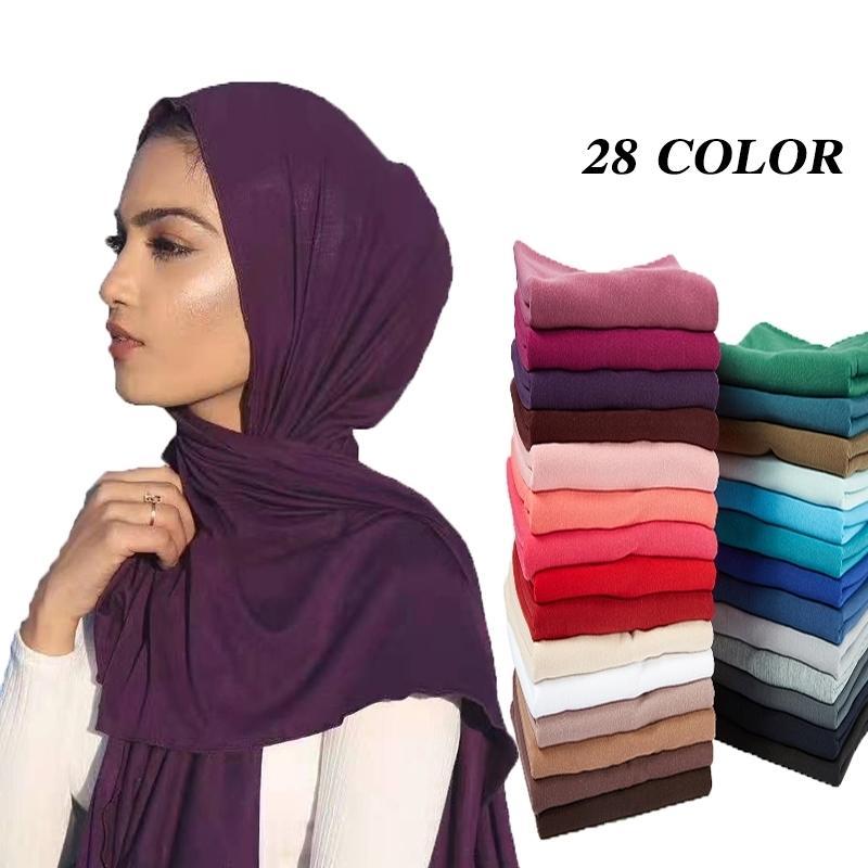 10pcs / Lot Femmes Jersey Musulman Jersey Hijab Scarf Foulard Femme Taille Plus Hijabs Châles islamiques Soind Soild Modal Headscarf pour femmes 201026