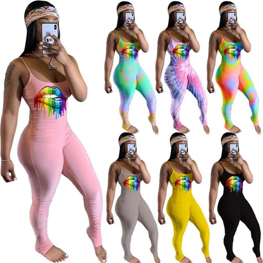 Frauen sexy geraffte Lippe gedruckt Jumpsuits Spaghetti Strap Strampler Slim Leggings Bodysuits Sexy Hot Skinny Overalls Stück Pants 3208