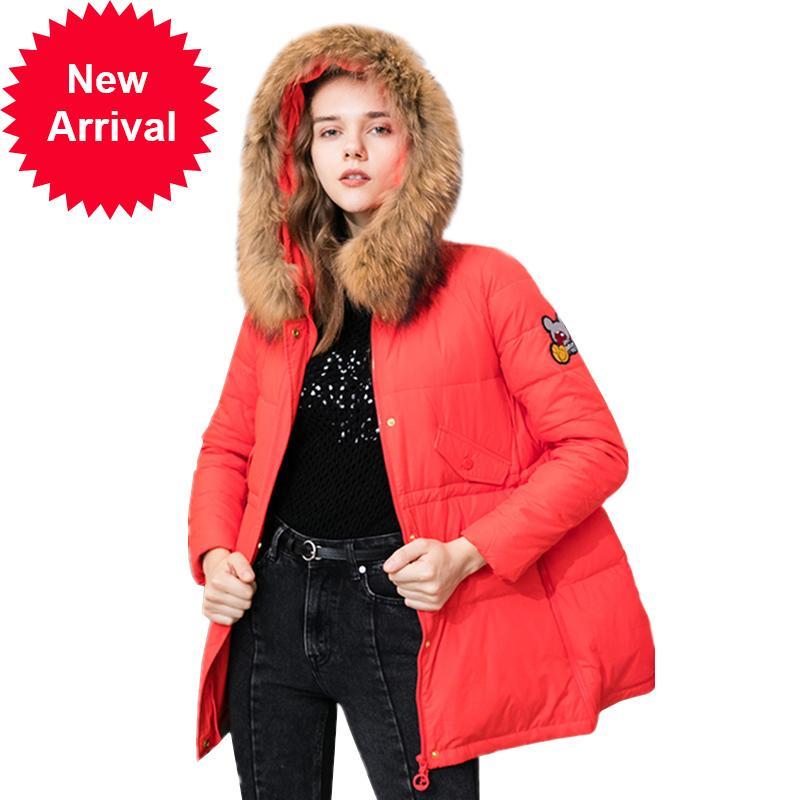 Kadınlar Kış Yeni Parka Gerçek Doğal Kürk Yaka Kapşonlu Etek Aşağı Ceket Moda Rahat Yama Tasarımları Artı Boyutu Paltolar Z26