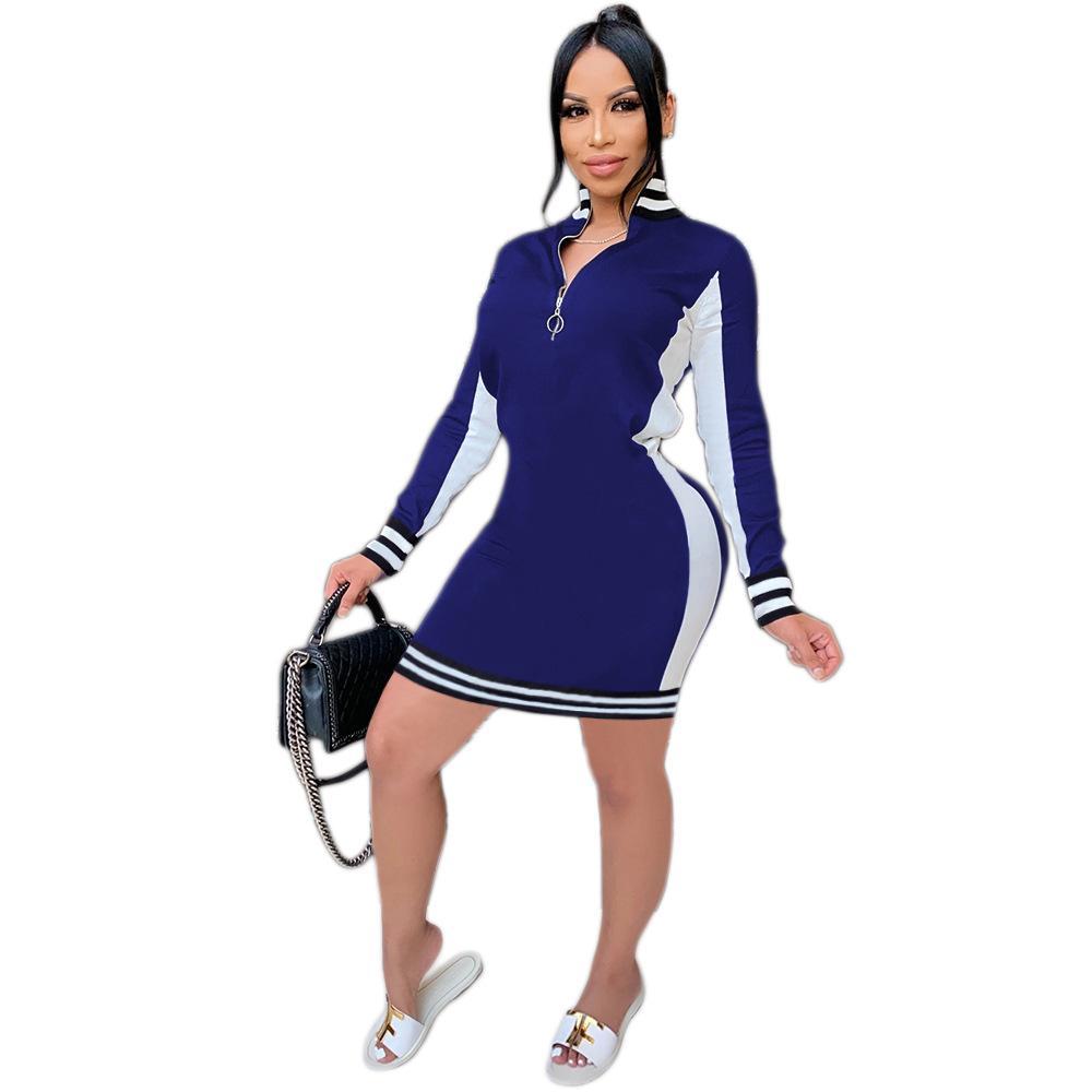 Женщины Панельные полосатые платья стоят воротник с длинным рукавом Slim Fit BodyCon платье женские молния одежда