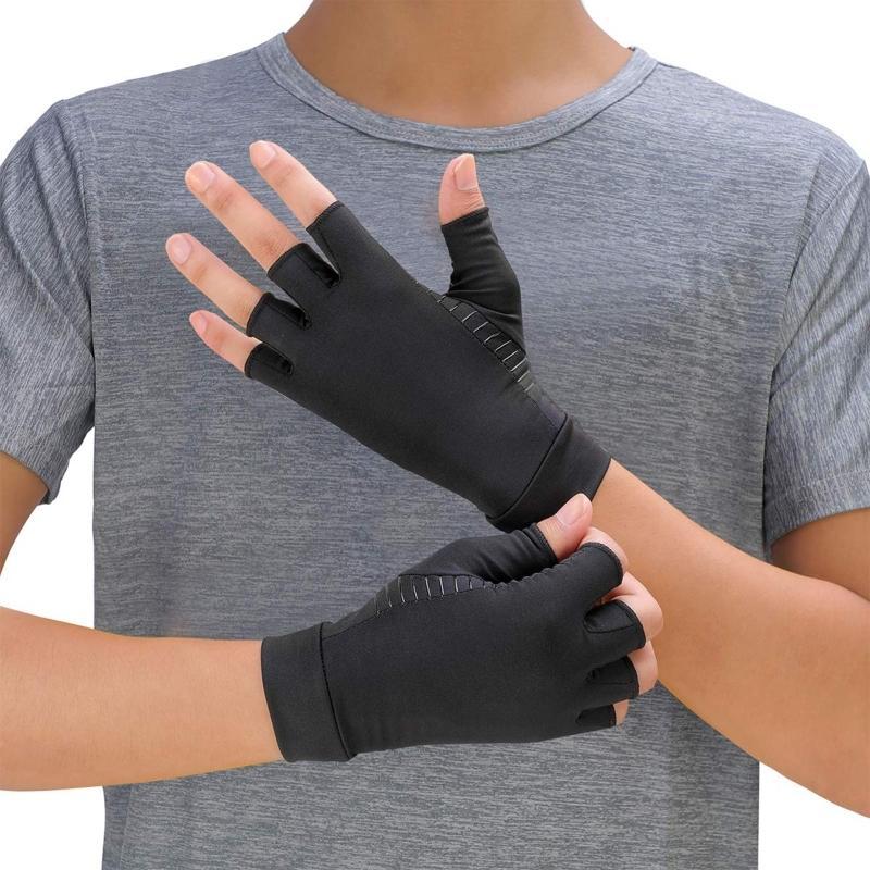 Роскошные нескользящие медный сжатие артрит перчатки боли рельеф половина пальцев варежки