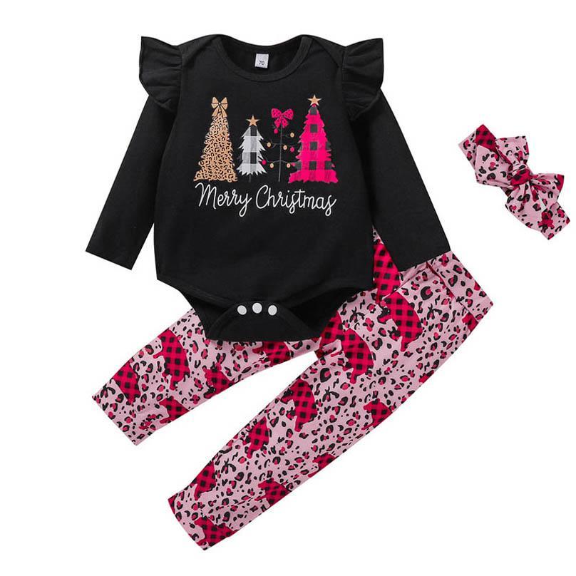 2020 Yeni Noel Bebek Kız Bebek Kıyafetleri Takım Elbise 3 adet / takım Uzun Kollu Romper + PP Pantolon + Bantlar Leopar Bebek Kız Giysileri B3222