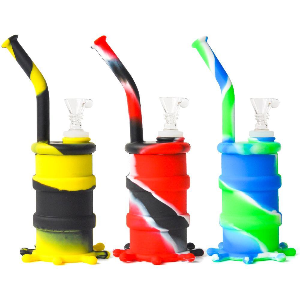 Nueva llegada Mini Silicone Water Pipe Bongs Glass Water Pipe Siete colores para la elección DHL Envío gratis