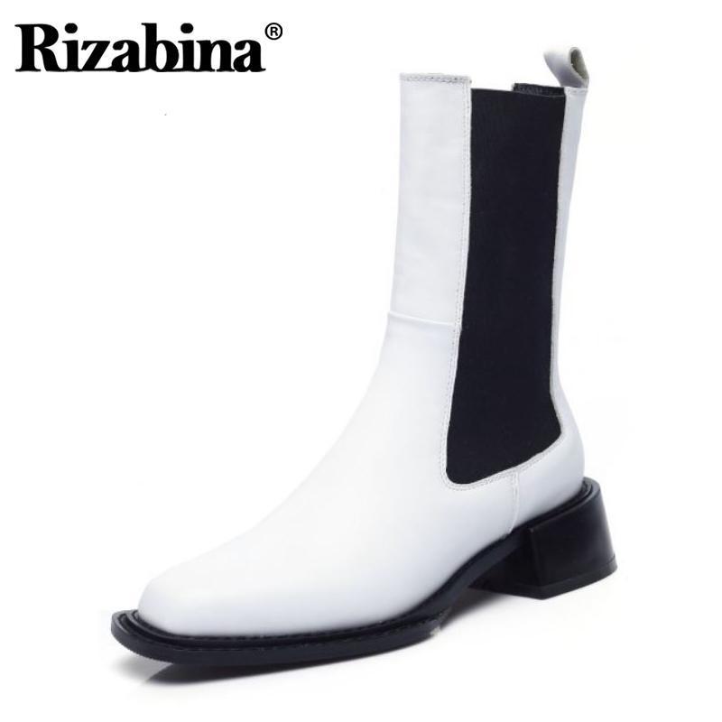 Rizabina Kadınlar Kısa Çizmeler Gerçek Deri Karışık Renk Kare Topuk Kış Ayakkabı Kadın Moda Orta Buzağı Çizmeler Ayakkabı Boyutu 33-40