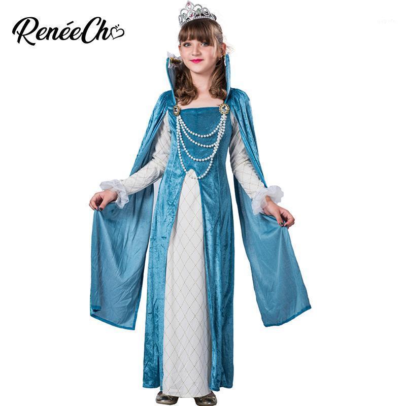 Çocuk Inci Prenses Cosplay Teal Ortaçağ Prenses Kostüm Kızlar Için Cadılar Bayramı Kostüm Çocuklar Için Uzun Mavi Elbise Doğum Günü1