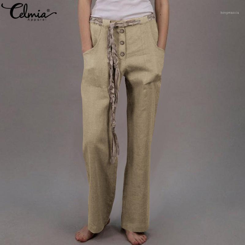 Celmia 2020 Мода Женщины Высокие Талией Гарем Брюки Женщины Кнопки Эластичные Талии Повседневная Брюки Свободные Старинные Хлопок Pantalon Femme1