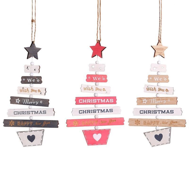 Albero di Natale Ornamenti Colorato Natale Naturale Ciondolo Legno Segnale Casa vacanze Partito Appeso Decorazioni Penants