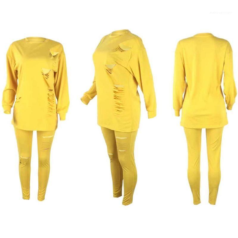 2 Parça Set Bayan Doğal Renk Eşofmanlar Casuak Uzun Kollu Üst Ayak Bileği Uzunluğu Pantolon Yırtık Kadın S Giyim