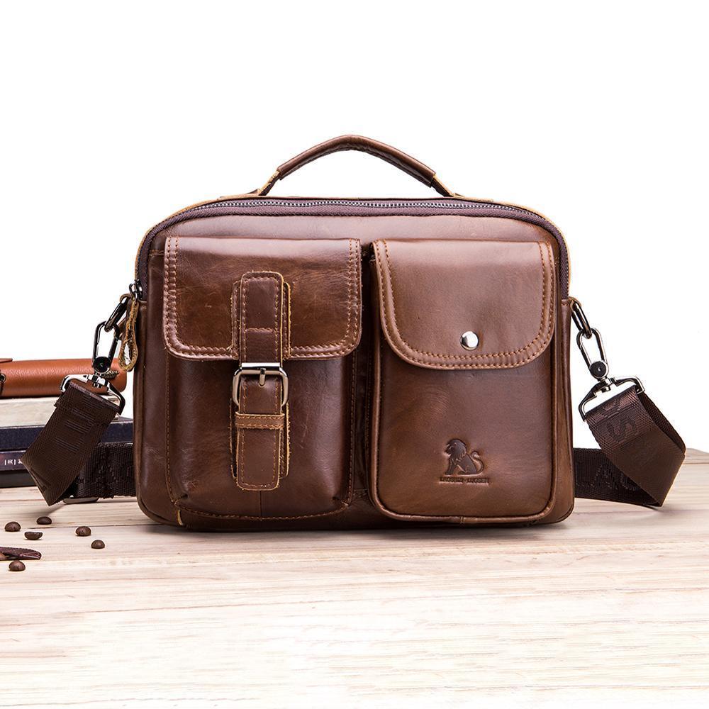 Business Vintage Genuine Leather Laptop Messenger Bag Cowhide Big Capacity Tote Office Handbag Men Briefcase Q0112