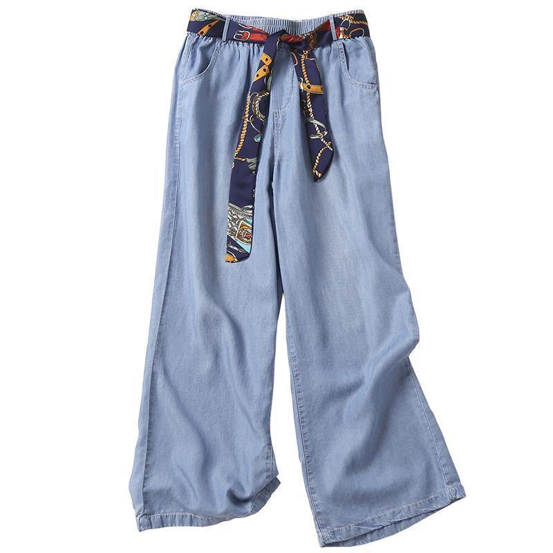 2020 Summer New Arts Style Women Elastic Waist Loose Blue Jeans All-matched Casual Cotton Denim Wide Leg Pants Plus Size M46 A1112
