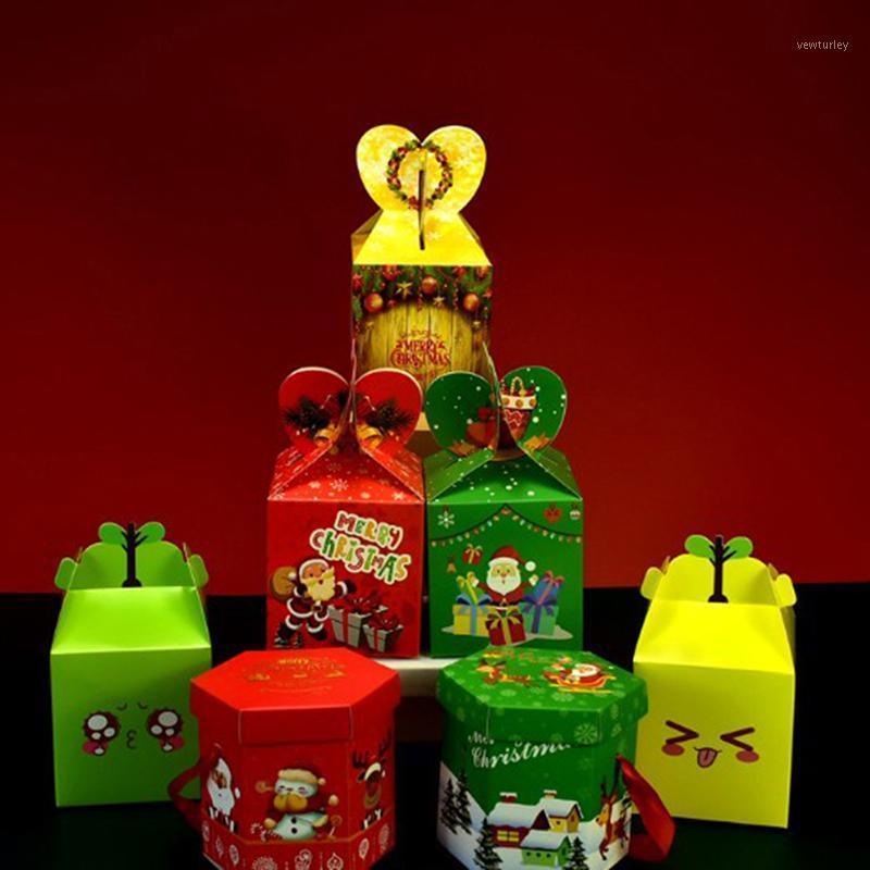 Envoltura de regalo 5 unids Navidad bolsas de galletas fiesta decoración de fiesta caja de caramelo Eva empaquetado papel de papel1
