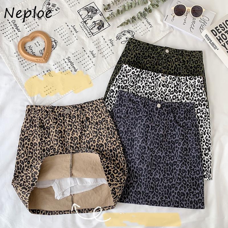 Neploe outono inverno leopardo padrão femme saia 2020 Nova saia bodycon mulheres bolsos duplos cintura alta a linha jupe 1g446 z1122