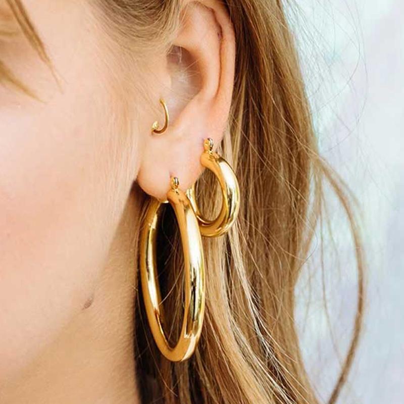 1 пар Больших золотых обручей серьга Толстой трубы Круглого Круг Кольцо Серьга для женщин цинкового сплава Trendy Hip Hop Rock