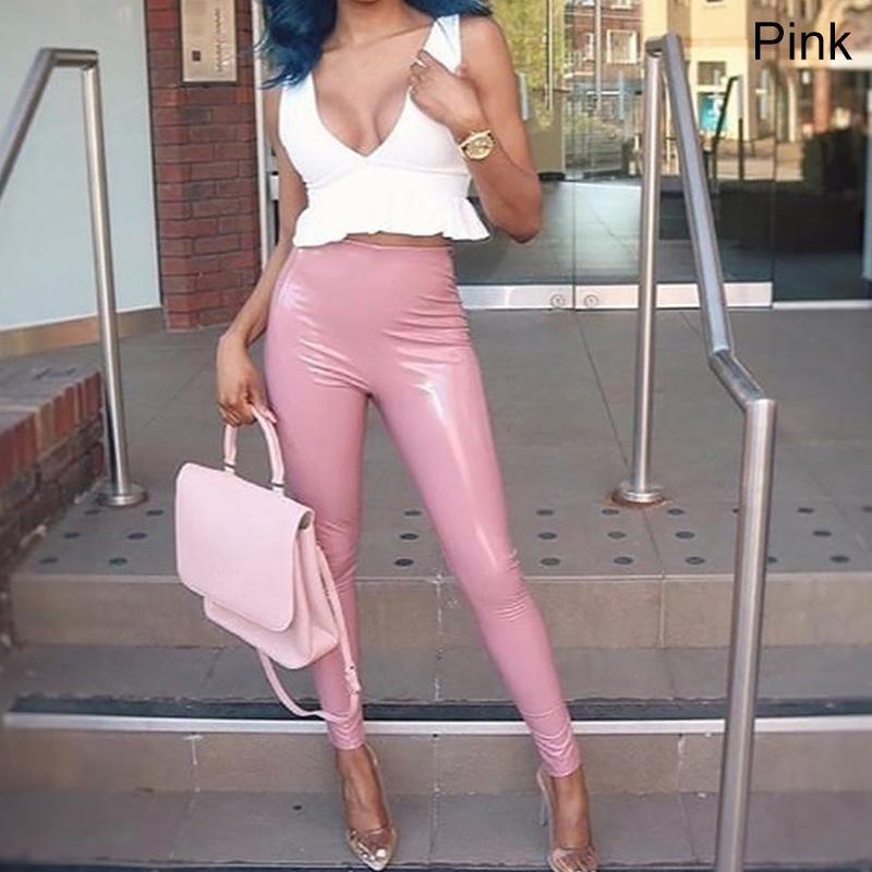 Seksi Deri kadın Pantolon Skinny Elastik Jeggings PU Deri Tayt Lateks Giysileri Artı Boyutu Buleggings