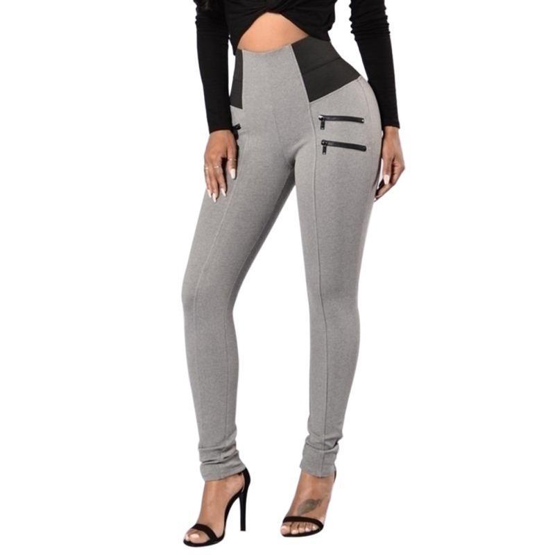 Nuovo Slim pantaloni a vita alta stirata di modo bodybuilding Workout elastico delle ghette delle donne femminili pantaloni