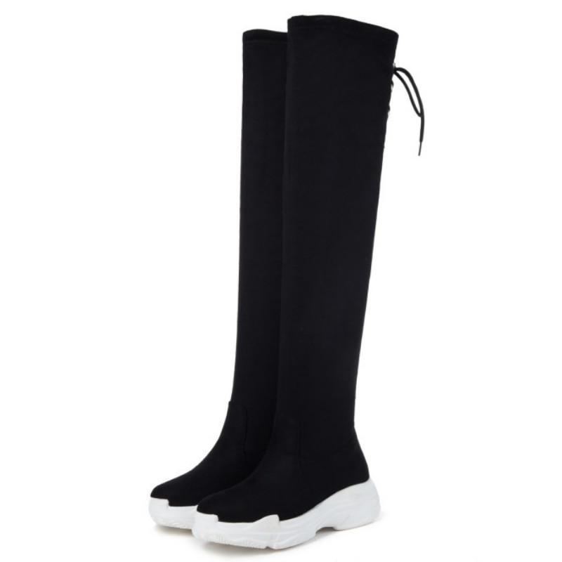 Botas de Fanyuan Mujeres Botas planas Zapatillas de deporte ocasionales Mujeres sobre rodilla Invierno Zapatos de moda de piel caliente Tamaño del calzado del estiramiento 29-43