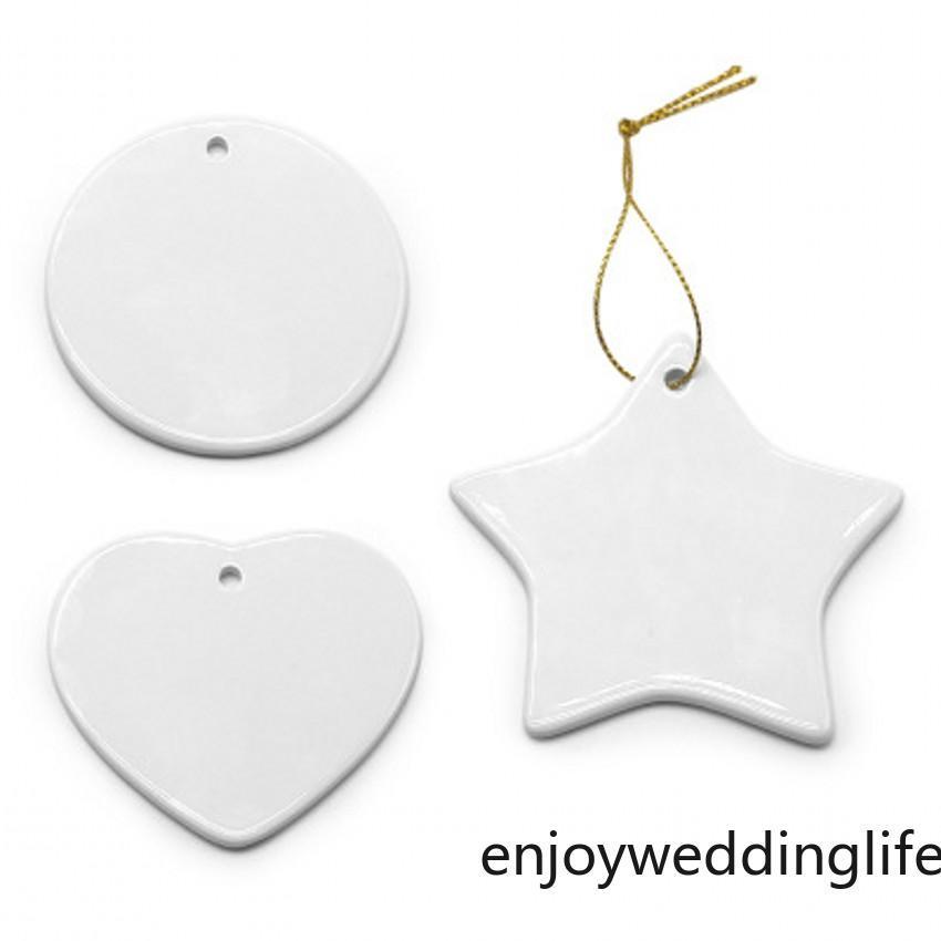Сублимация Blank керамический кулон Творческий рождественские украшения передачи тепла печать DIY Керамические Орнамент 9 Стили 2021 DHL Free