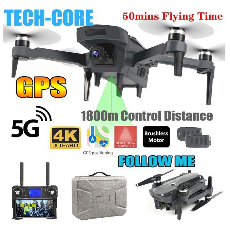 طائرات بدون طيار TECH-CORE 2021 5G بطولة K20 فرش المحرك المجهز مع GPS و 4K HD المزدوج كاميرا quadcopter 1800m r / c المسافة متابعة لي