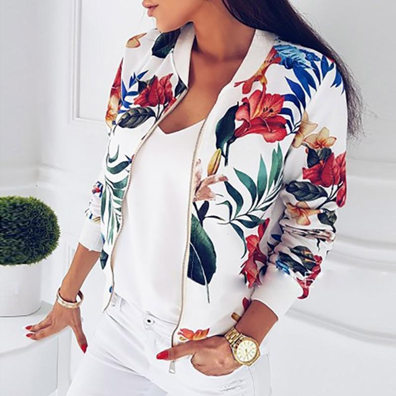 Zipper Plus Size Women's Jacket Floral Printed Long Sleeve O Neck Tops Sweatshirt Spring Loose Tops Womens Coats Outwear