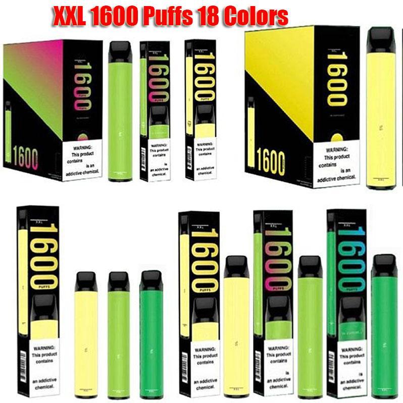 Puff XXL 1600 Puffs Одноразовые Электронные сигареты Электрическая батарея Префилирует картридж Codridge Xtra Kits Vape Pen VS Bar Plus