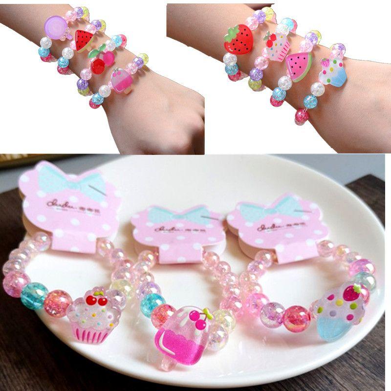 Niña niños pulsera pulsera caramelo color transparente cuentas fruta princesa pulsera niños niña encanto joyería regalo