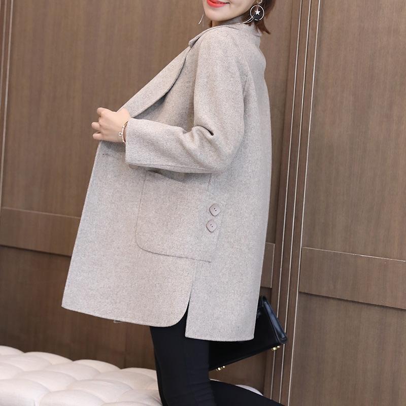 Cashmere Double Cashmere Pequeno Tweed Casaco Mulheres Meio Longo Casaco de Lã Mãe Com Cashmere Medium Novo em 2021