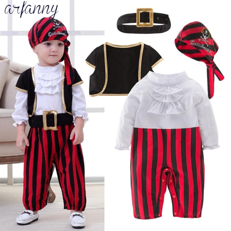 Baby Boys Roupas Adorável Novo Bebê Pirata Capitão Halloween Boy Set Crianças Traje Dança Cosplay Jovens Crianças4 Partes Y200320