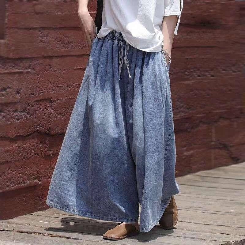 2020 летняя литература и искусство свободные джинсы женские шнуры шнуров на шнуровке широкие брюки ног Высокая талия показывает тонкое опущенное чувство