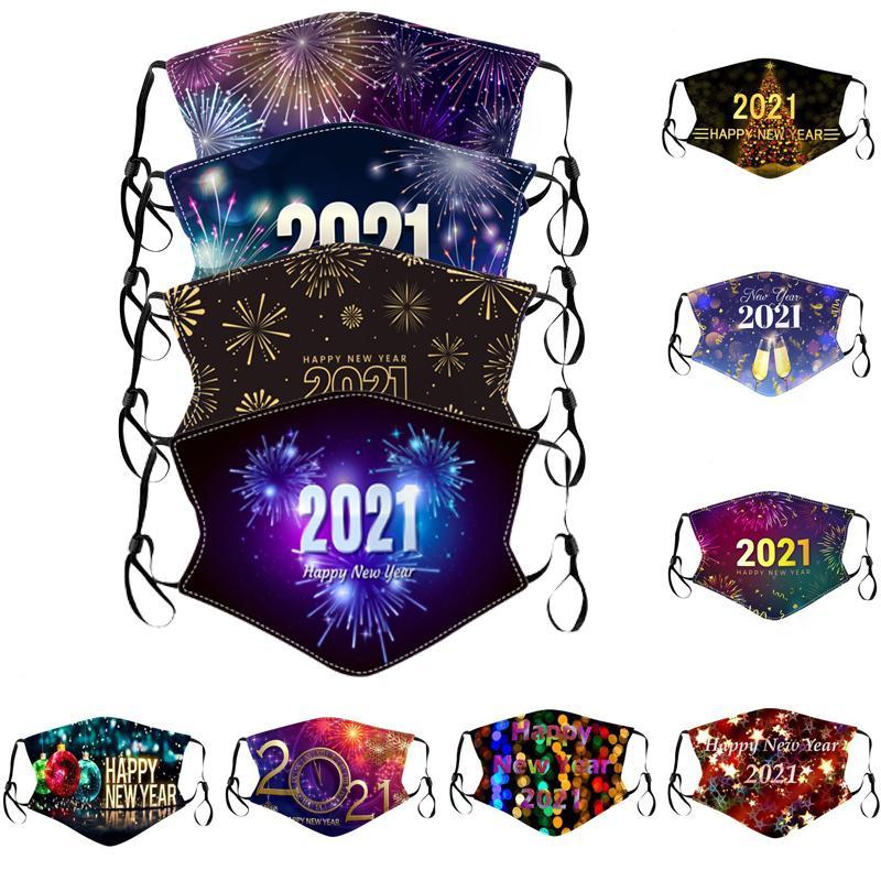 2021 Feliz Ano Novo Designer Face Mask Party Masks Washable Reusável Máscara Facial Digital Proteção Impresso para Homens Mulheres