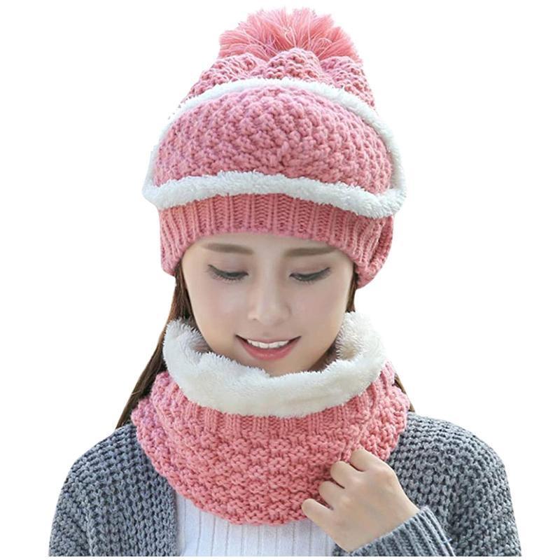 2020 novo chapéu lenço mulheres 3 peças de malha inverno lã beanie tampa máscara feminino manter quente lenço de pesca homens inverno acessórios