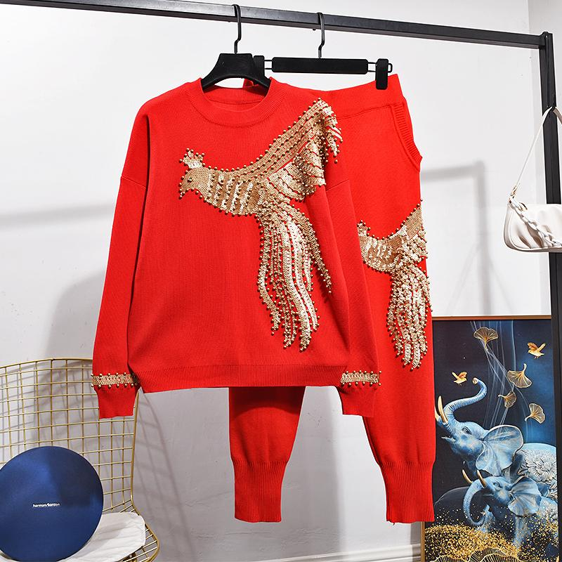 Autumn Winter Phoenix Beading Knitted Women Suit New Fashion Long Sleeve Sweater + Harem Pants 2 Piece Set Ladies Clothing Tide F1216