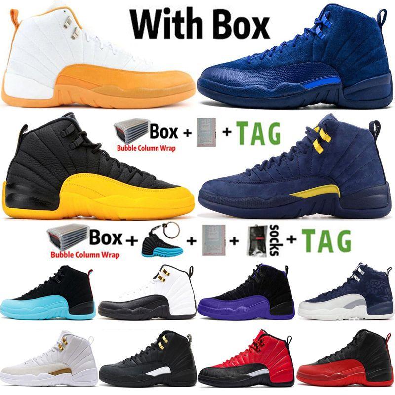 2021 Varış Yüksek Jumpman 12 12 S Erkek Basketbol Ayakkabı Derin Kraliyet Mavi Üniversitesi Altın Taksi Koyu Concord Sneakers Spor Eğitmenler Boyutu 13