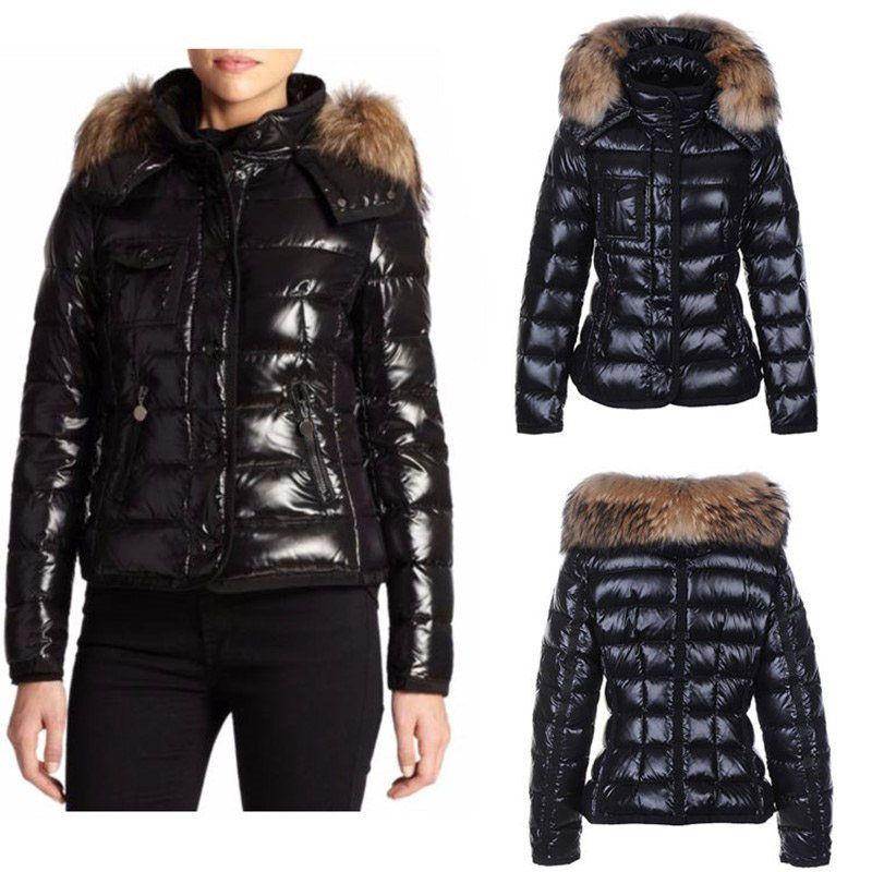 패션 Womens Parka 광택 재킷 후드 영국 스타일 모피 여자 코트 Doudoune Femme 검은 흰색 오렌지 겨울 자켓