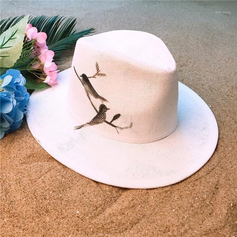 Wide Brim Hats Handmade Paint Panama Hat Fashion Women Summer Straw Beach Sun With Bird Sunbonnet Size 58CM1