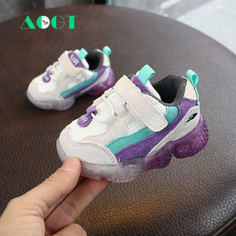 AOGT Spring New Kids Baby Shoes Soft Non-slip Infant First Walkers Mesh Breathable Baby Sneakers Toddler Shoes For Girl Boy 201119