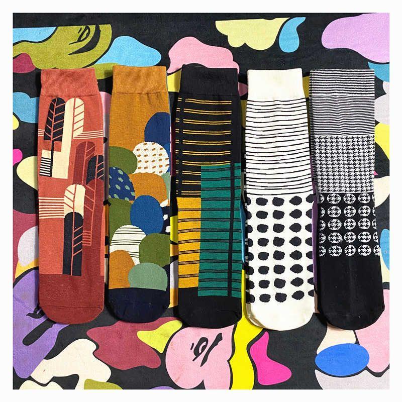 Coreano Harajuku Soft Cotton Cotton Women Vintage Jacquard Mid-Tube Sport Socks Preppy Style Novità Creative Creative Funny Sock