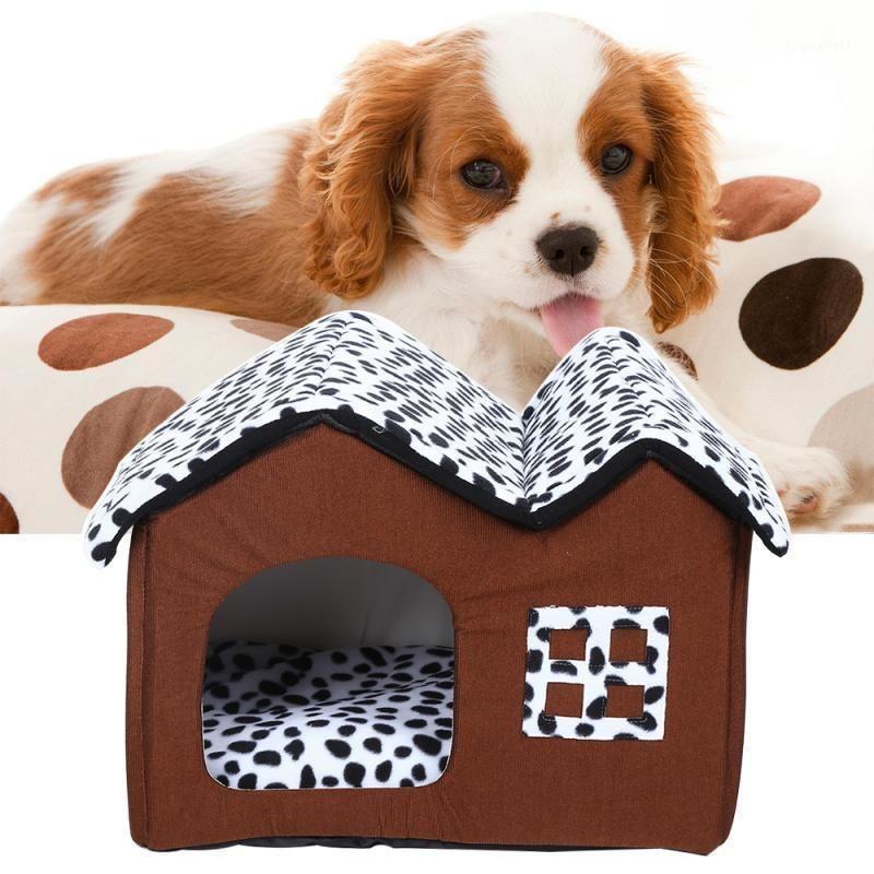 1 unids portátil perro casa plegable invierno cueva cueva cueva ropa de mascota taza de nido gato cachorro kennel doble techo doghouse mascota waterloo1