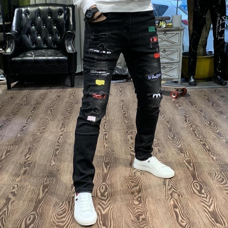 Mode Streetwear Männer Jeans Schwarz Slim Fit Elastisch Zerstörte Patches Designer Ripped Jeans Männer Punk Bleistift Hosen Hip Hop