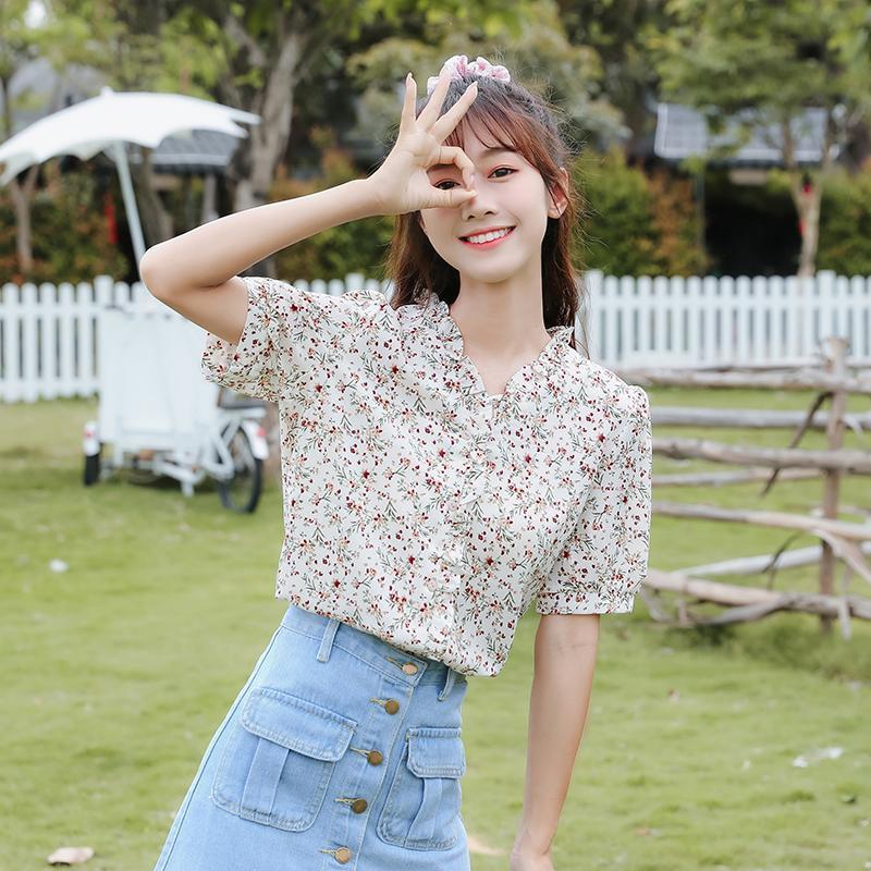 Женские блузки рубашки блузка хорошее качество Feminina Одежда 2021 весенний лето стиль цветочные V-образные шеи шифон женский A6030