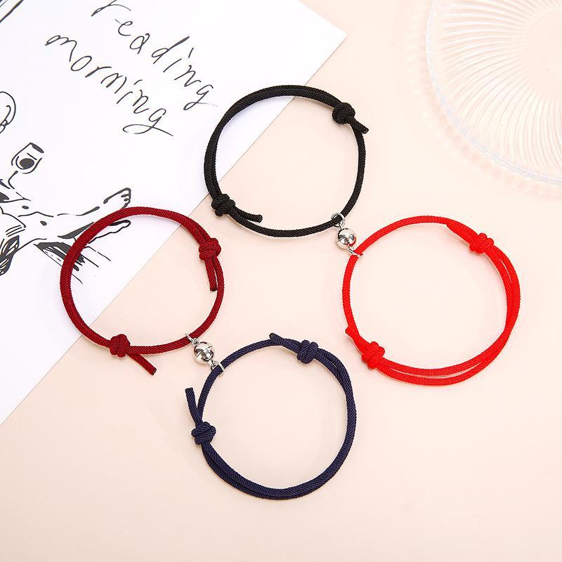 Магнитный браслет пары магнитные притяжения творческий браслет красный веревочка браслеты подарки новая мода дружба ювелирные изделия оптом