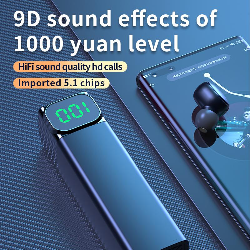 2020 neue drahtlose Bluetooth-Kopfhörer Tws-Ohrhörer mit Power-Display 9d tiefe Basskopfhörer Drop Shipping