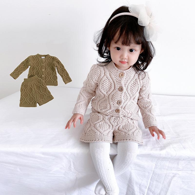 Wholesale ins مجموعة ملابس الوليد winternew girs تريكو واحد الثدي الفتيان سترة والسروال 2pieces الطفل الدعاوى