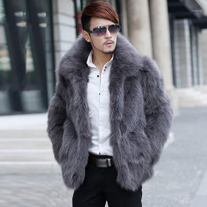 Мужской меховой меховой Faux * 2021 мужские пальто одежды с длинным рукавом поворотный воротник волосатый пальто зимой теплый ванн трубы Джакета де jaque * 1