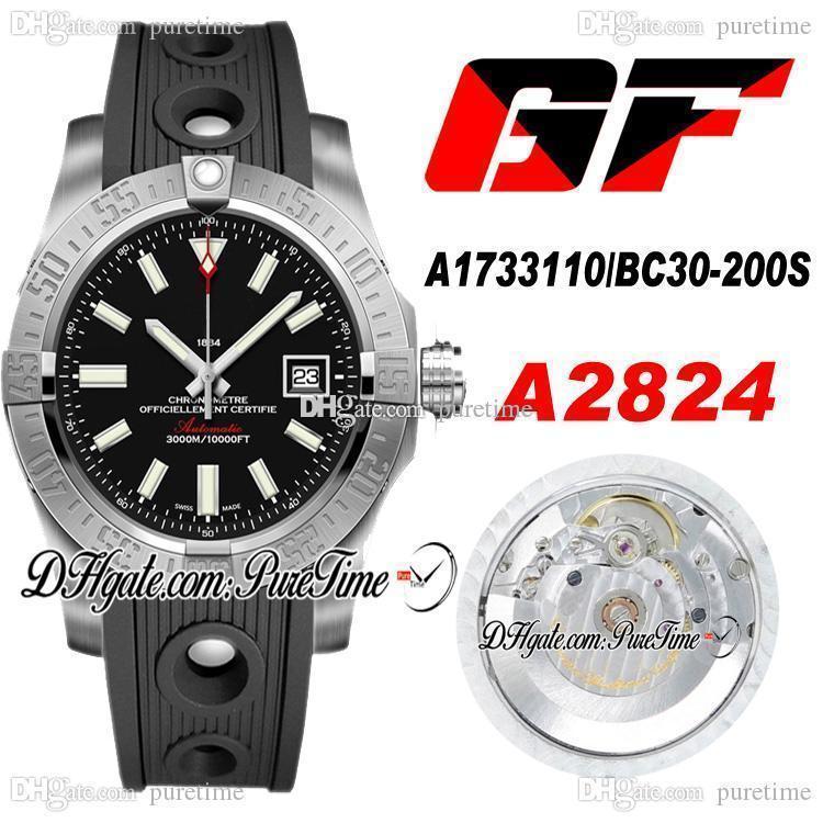 2020 GF V2 Seawolf A1733110 / BC30-200S ETA A2824 Otomatik Erkek İzle Siyah Arama Numarası İşaretleyiciler Siyah Kauçuk En Iyi Baskı Ptbl Puretime A19