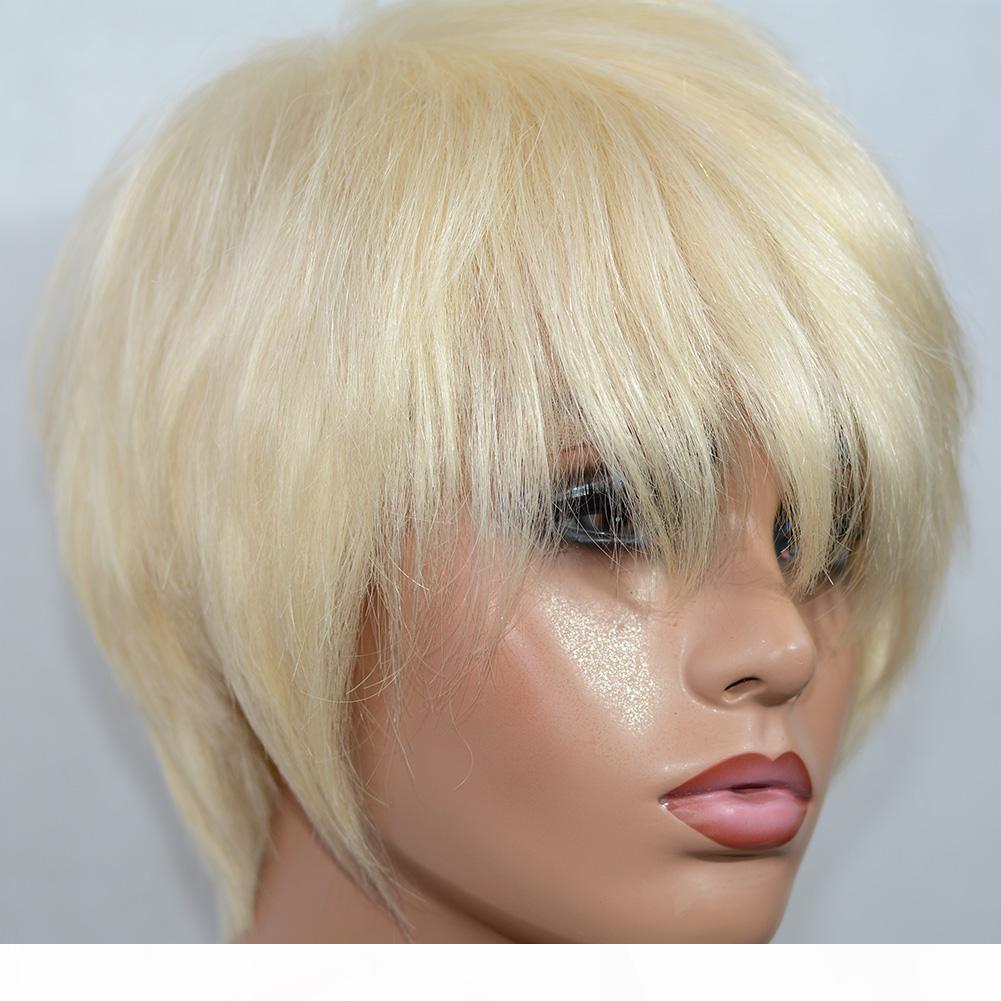 Vancyhair 613 Blondine volle Spitze Menschenhaarperücken Kurzer menschliches Haar Pixie Cut Layered Bob Perücken