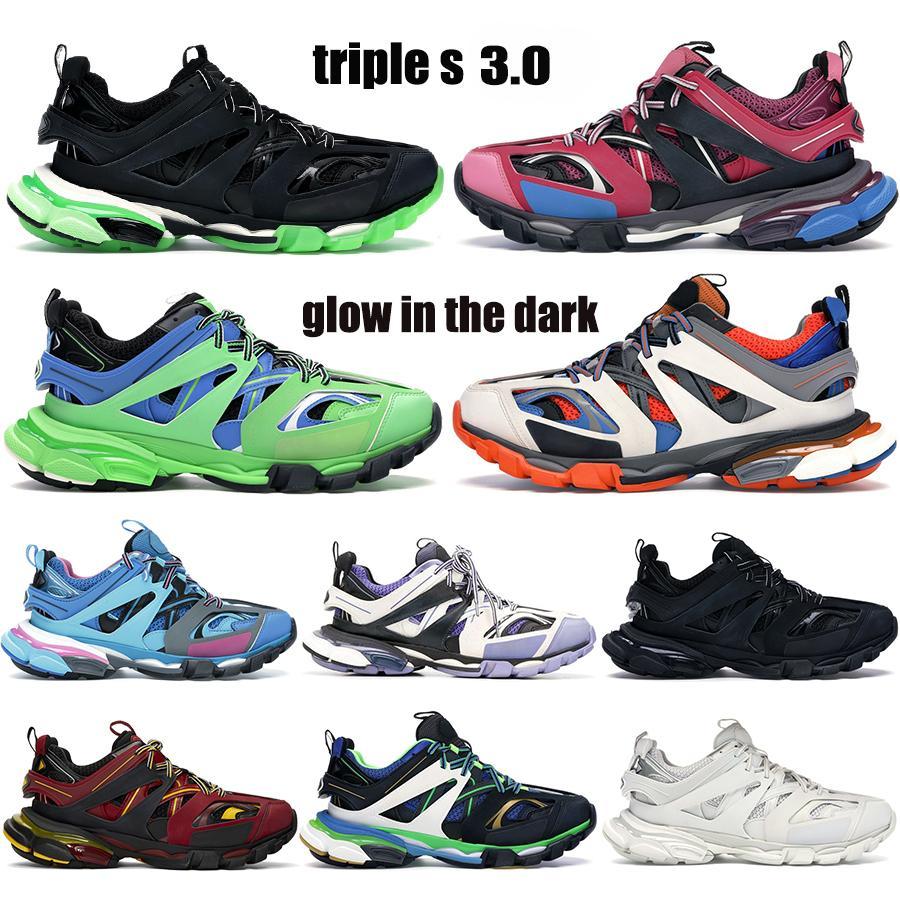 Лучшее качество Трехместный S 3.0 Платформа Парижские кроссовки Черный Белый Бегун Голубое свечение в темном тренере. Известь мужчин Женщины кроссовки
